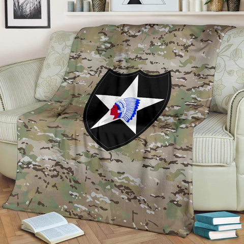 Image of fleece blanket 2nd Infantry Division Camo Fleece Throw Blanket
