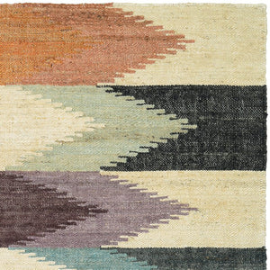 Pricilla Hand-Woven Plum/Beige Blue Area Rug