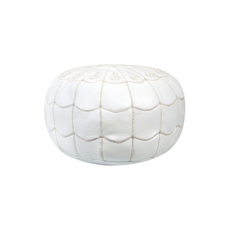 Scalloped Pouf Leather Ottoman
