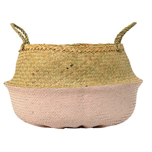 Seagrass Basket-Natural/Pink