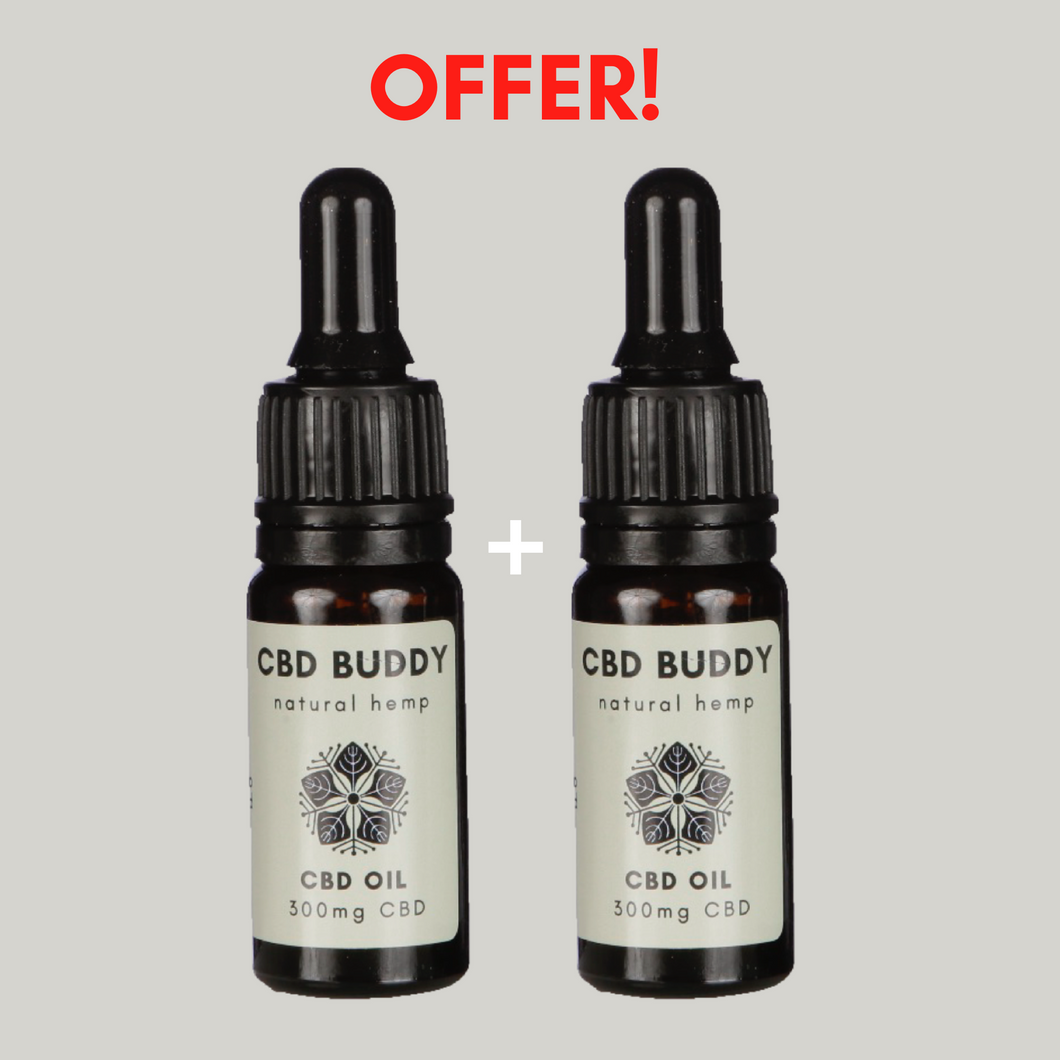 2 x 3% CBD OILS: Save with 2 x low strength organic CBD oil drops - 300mg CBD per bottle