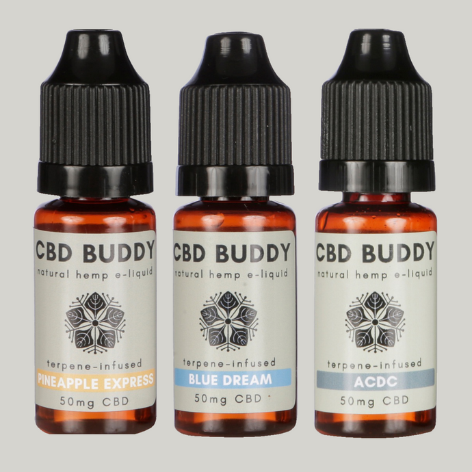 ENERGISE CBD VAPE MULTIBUY: Save 15%! Give your day an energising boost with ACDC, Blue Dream & Pineapple Express CBD vapes