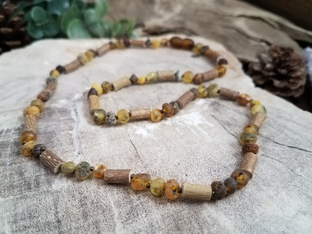Raw Baltic Amber and Hazelwood Adult Necklace