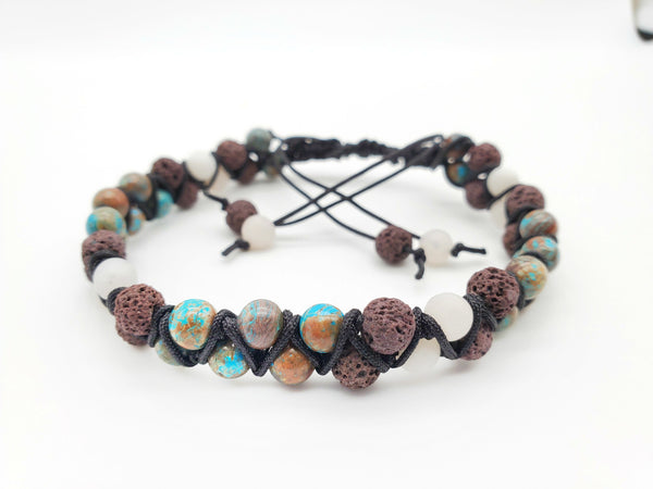 NEW** Double Strand Lava and Gemstone Bracelet or Anklet