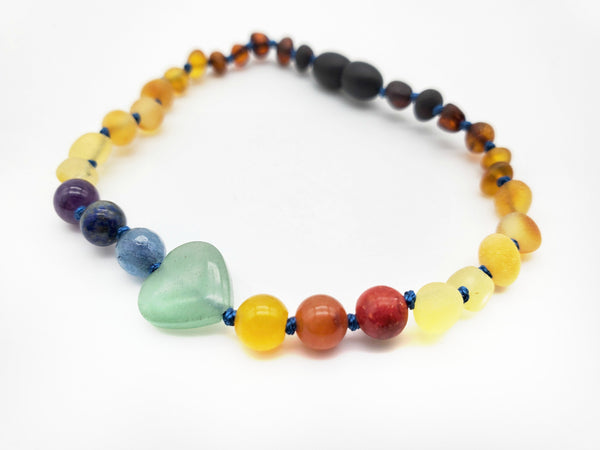 NEW** Adult Amber Bracelet with Aventurine Heart