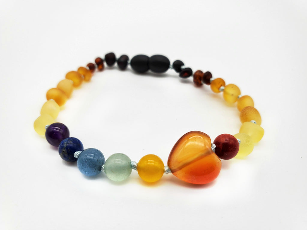 NEW** Adult Rainbow Bracelet with Red Agate Heart
