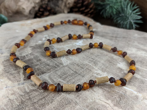 Hazelwood and Dark Baltic Amber Necklace