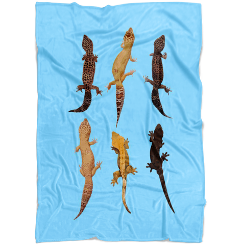 CUSTOM FLEECE BLANKET with Geckos