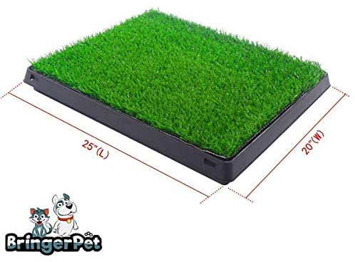 BRINGERPET Indoor Puppy Dog PET Potty Training Pee PAD MAT Tray Grass House Toilet W/Tray + Artificial Grass for Potty (3 pcs) + Gift - Dog Toothbrush with Toothpaste Reservoir