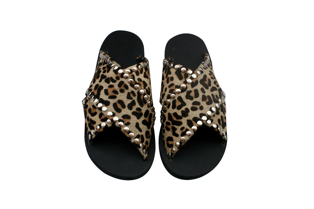 Leather Leopard Sandals for Women & Men - Handmade Leather Sandals, Casual Leather Flats, Unisex Sandals, Genuine Leather Sandals