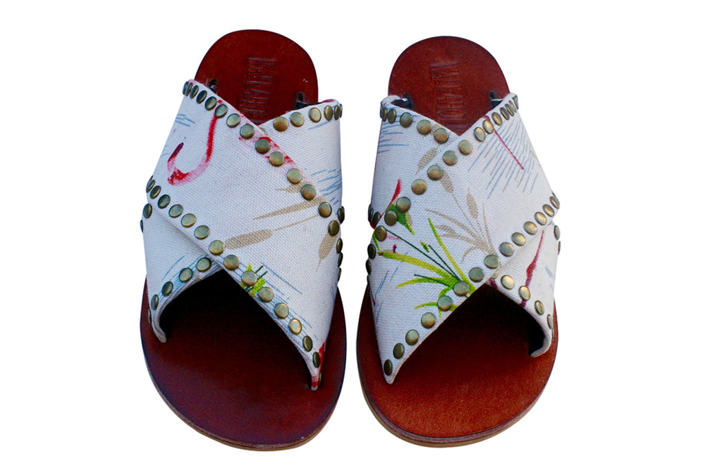VEGAN Cream Flamingo Cross Sandals - Handmade Vegan Friendly Sandals