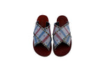 VEGAN Blue Red Anchor Cross Sandals - Handmade Vegan Friendly Sandals