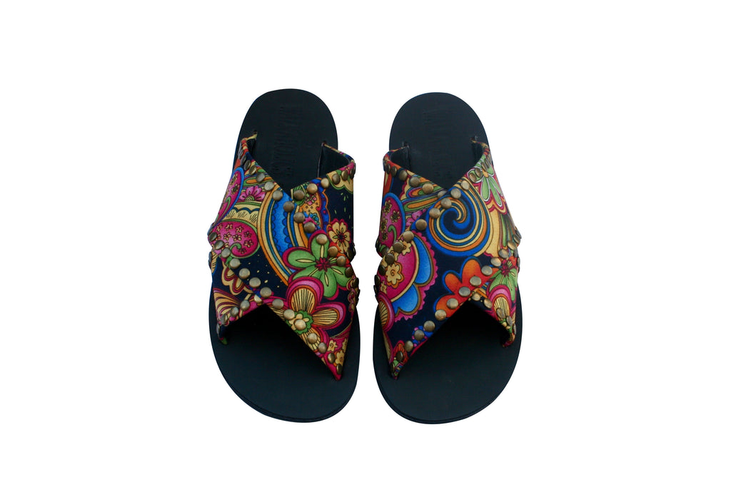 VEGAN Flower Power Cross Sandals - Handmade Vegan Friendly Sandals