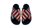 VEGAN Red Sailor Cross Sandals - Handmade Vegan Friendly Sandals
