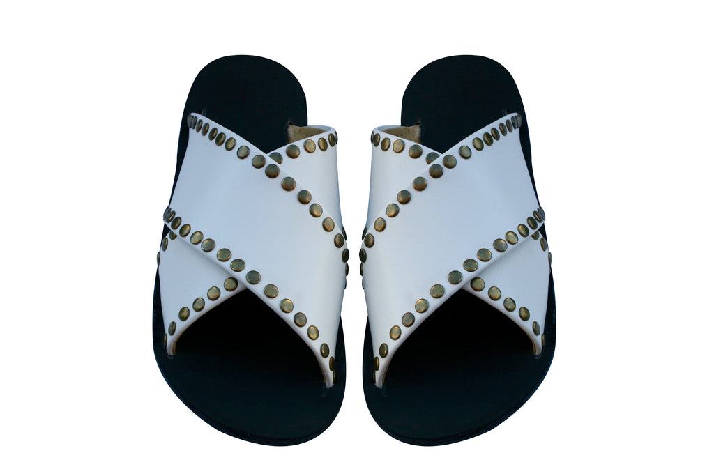 VEGAN White Studded Cross Sandals - Handmade Vegan Friendly Sandals