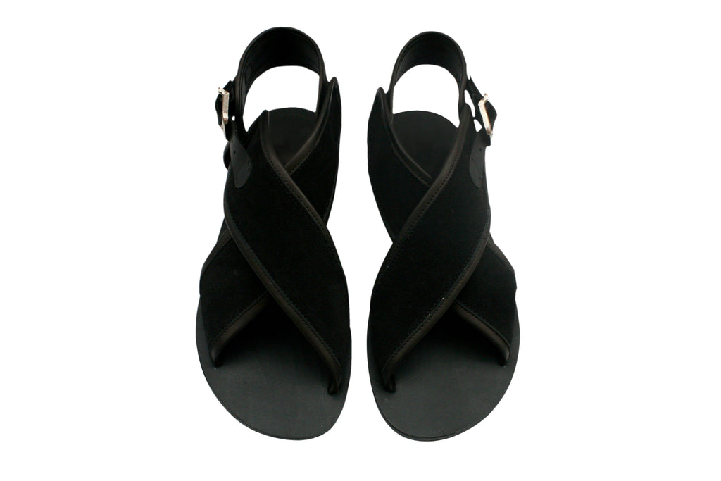 Black Exotic Leather Sandals for Women & Men - Handmade Leather Sandals, Casual Leather Flats, Unisex Sandals, Genuine Leather Sandals