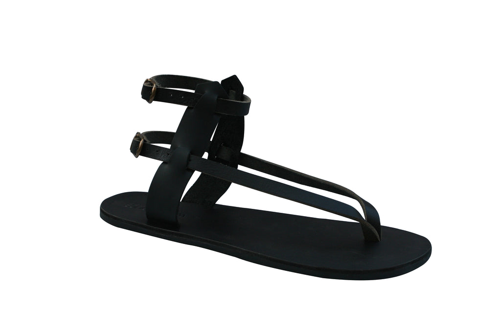 Black Jojo Leather Sandals for Men & Women