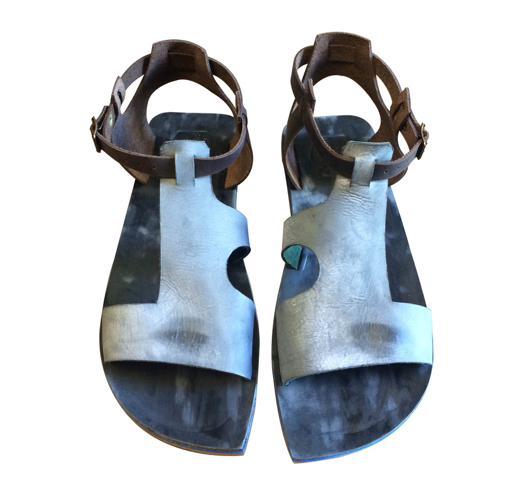 Black Grey Seagal Leather Sandals for Men & Women