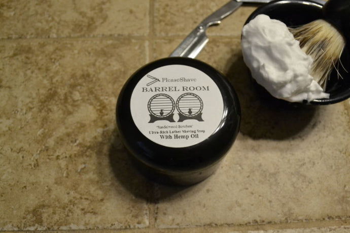 PleaseShave Ultra-Rich Lather Shave Soap With Hemp Oil (Barrel Room)