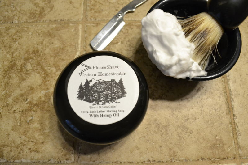 PleaseShave Ultra-Rich Lather Shave Soap With Hemp Oil (Western Homesteader)
