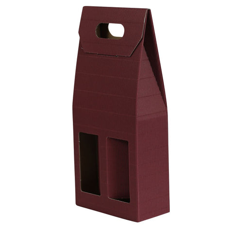 2 Bottle Card Carton - Burgundy - With Windows