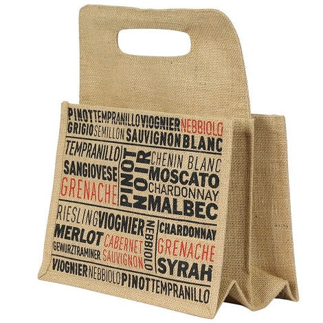 6 Bottle Jute Wine Bag - Grape Variety Print
