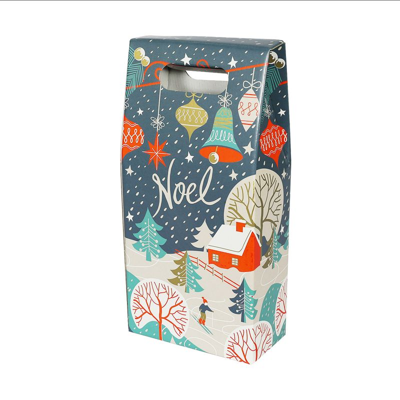 Christmas Themed Bottle Gift Box - Noel Print