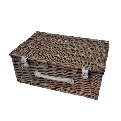 Hand-made traditional Wicker Hamper - Pewter Brown