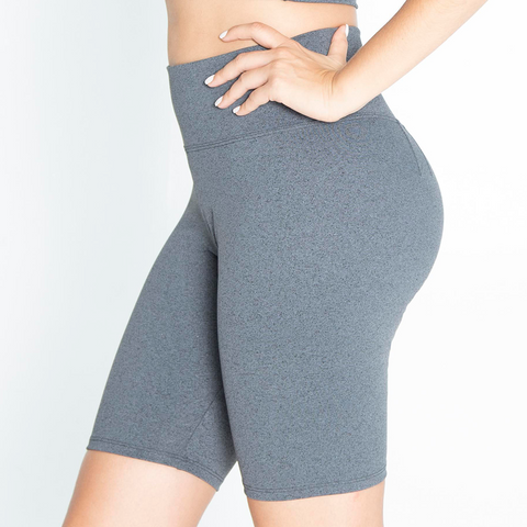 High Waisted Lux Biker Short - Charcoal