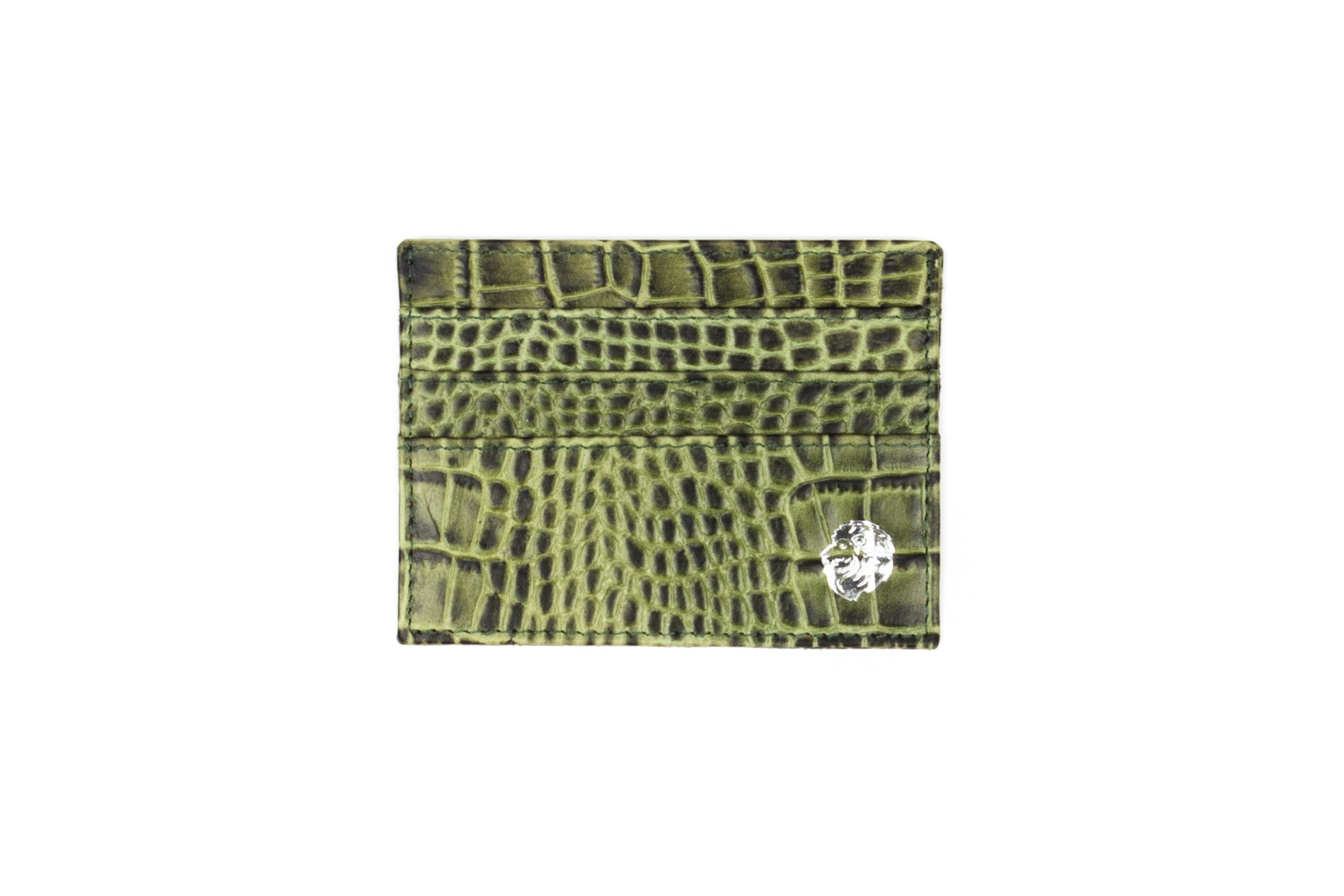 Green Alligator Pattern Leather Card Holder