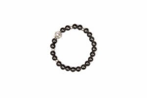 Black Beaded Bracelet with Silver Lion Head