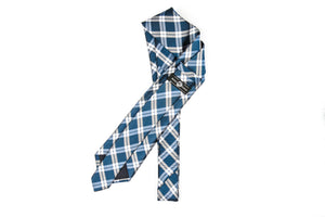 Silk Neckties - Blue White Plaid