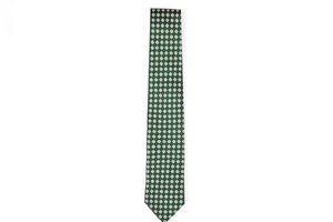 Silk Neckties - Green with Silver Diamonds