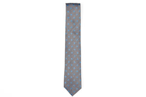 Silk Neckties - Grey Black Blue Flowers
