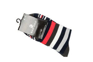 Socks - Striped Dark Blue Red Grey
