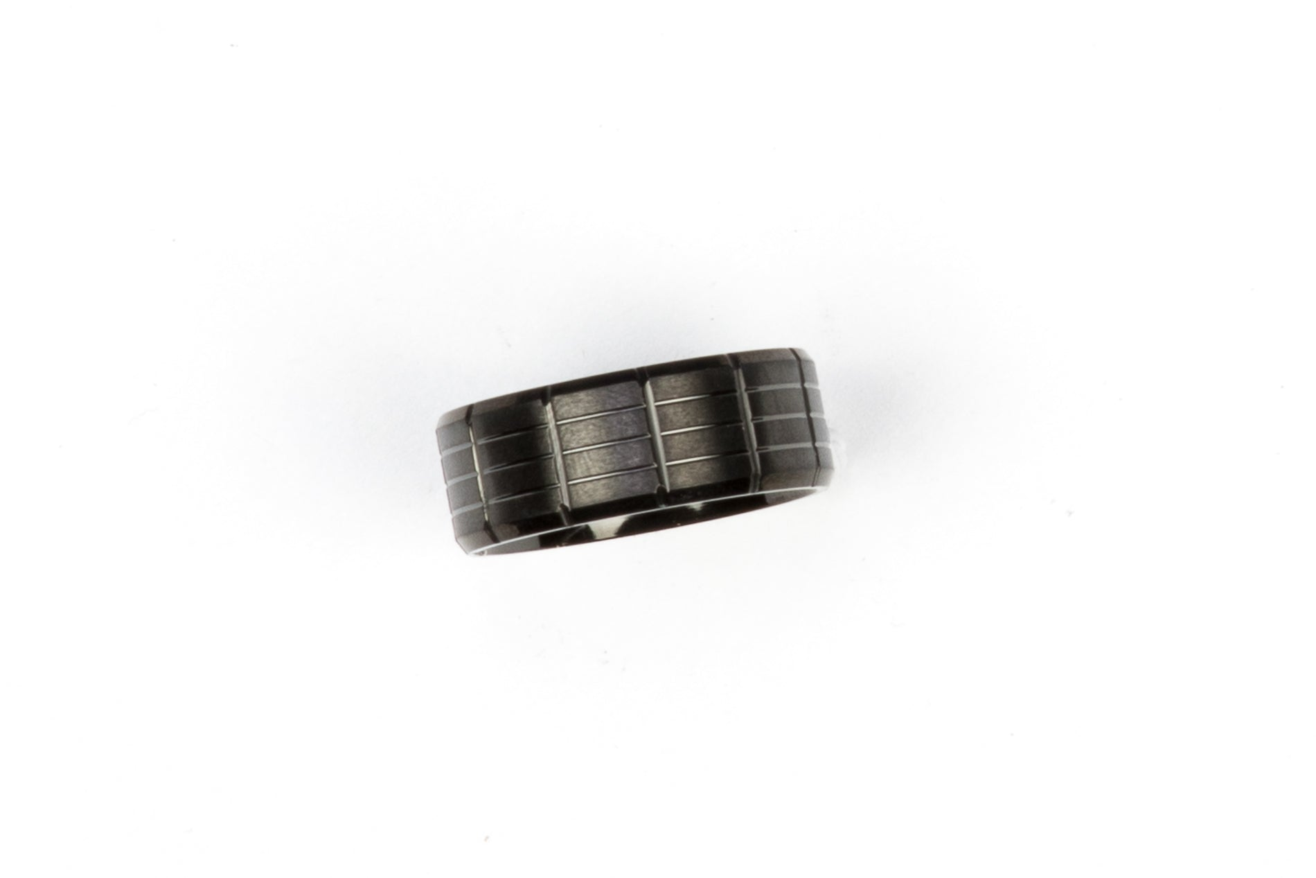 Black Treaded Stainless Steel Ring