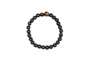 Black Agate Bracelet w Tigers Eye