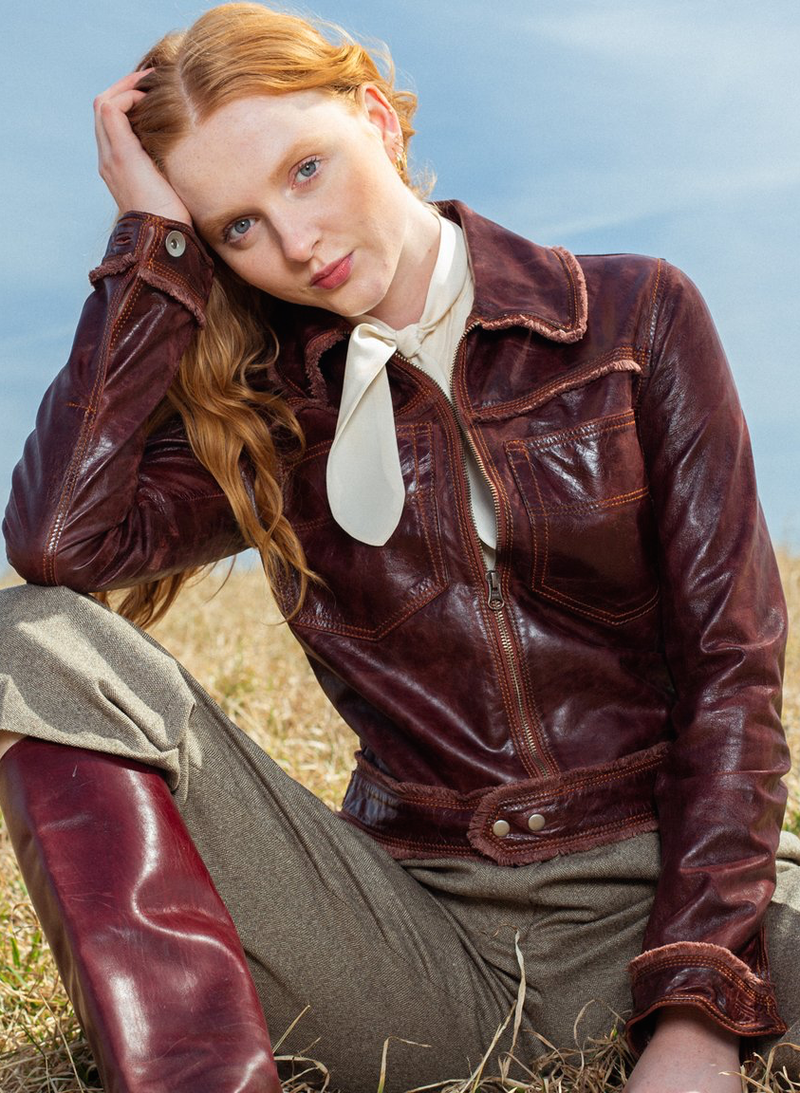 Hayden Solid Vintage Leather Jacket - Port