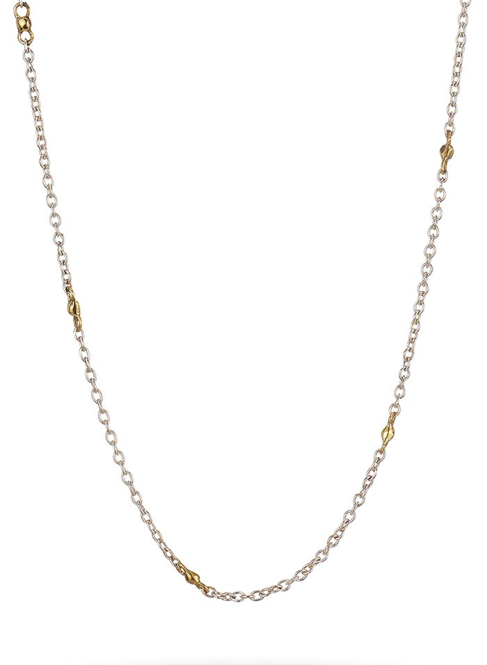 Thin Cable with Brass Beads - Sterling Silver, 18""
