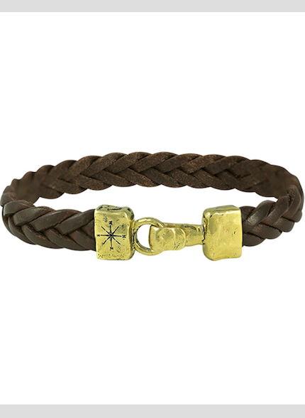 Unified Front Leather Bracelet - Brass