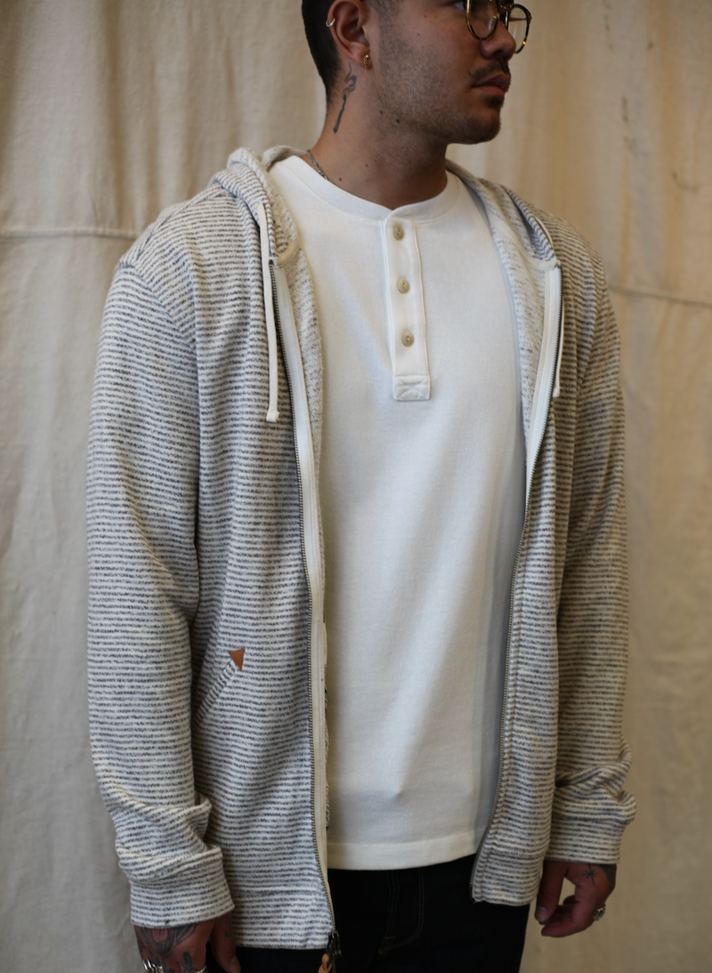 The Après Hoodie - Natural Hemp Stripe