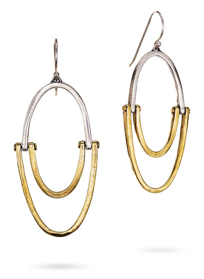 Sister Hoop Earrings - Sterling Silver & Brass