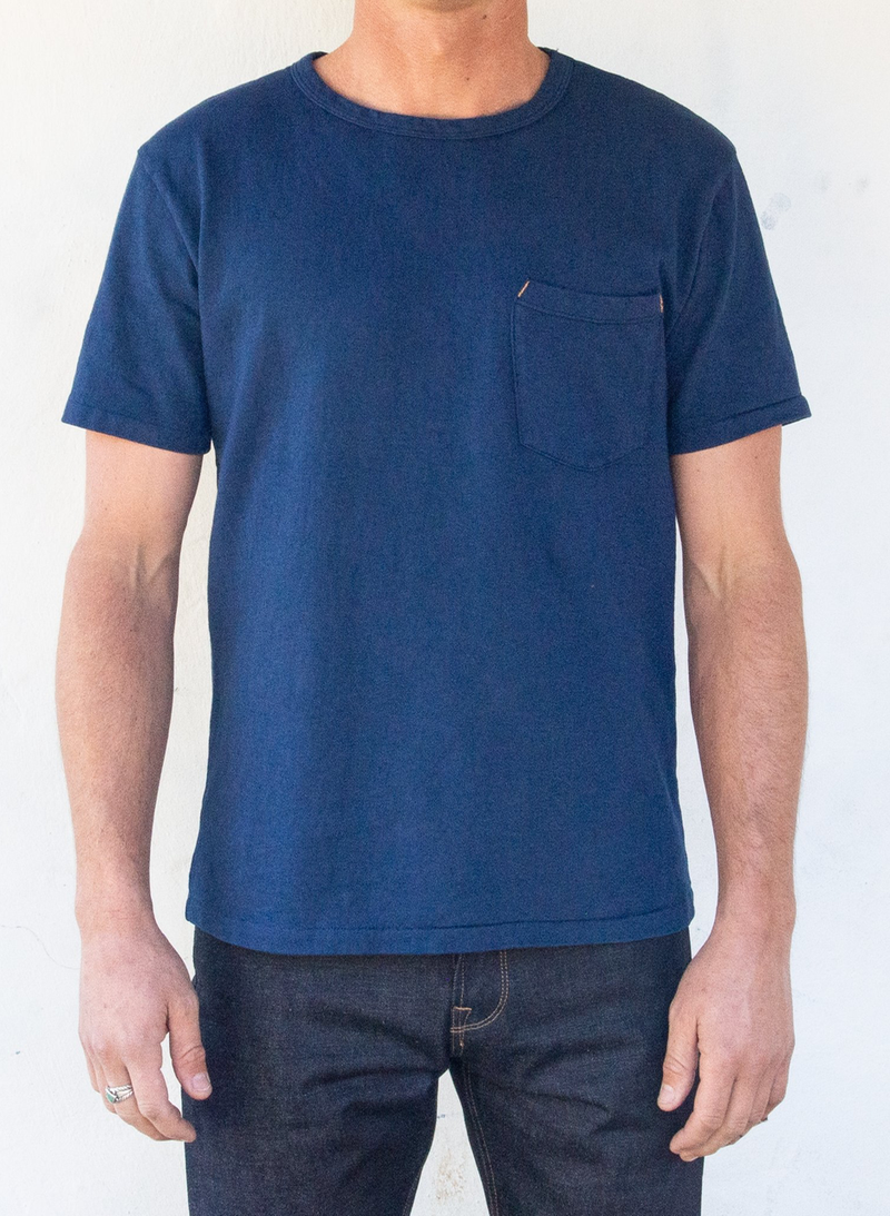 Vintage Wash Pocket Tee - Navy