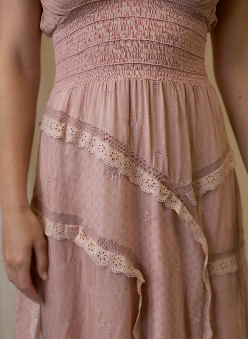Evelyn Tiered Dress - Rimini Pink