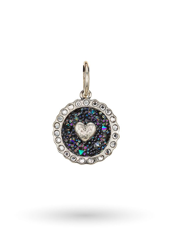 Cherishment Heart Charm - Sterling Silver & Crystals