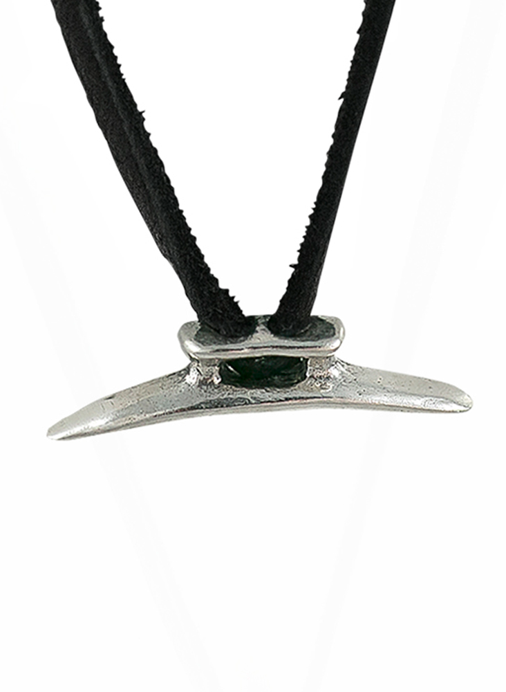 Boat Cleat Leather Necklace - Sterling Silver