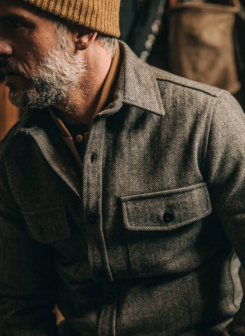 The Explorer Shirt - Charcoal Herringbone