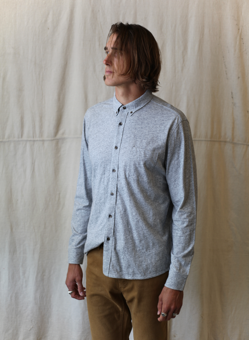 Luxe Heather Knit Shirt - Athletic Grey