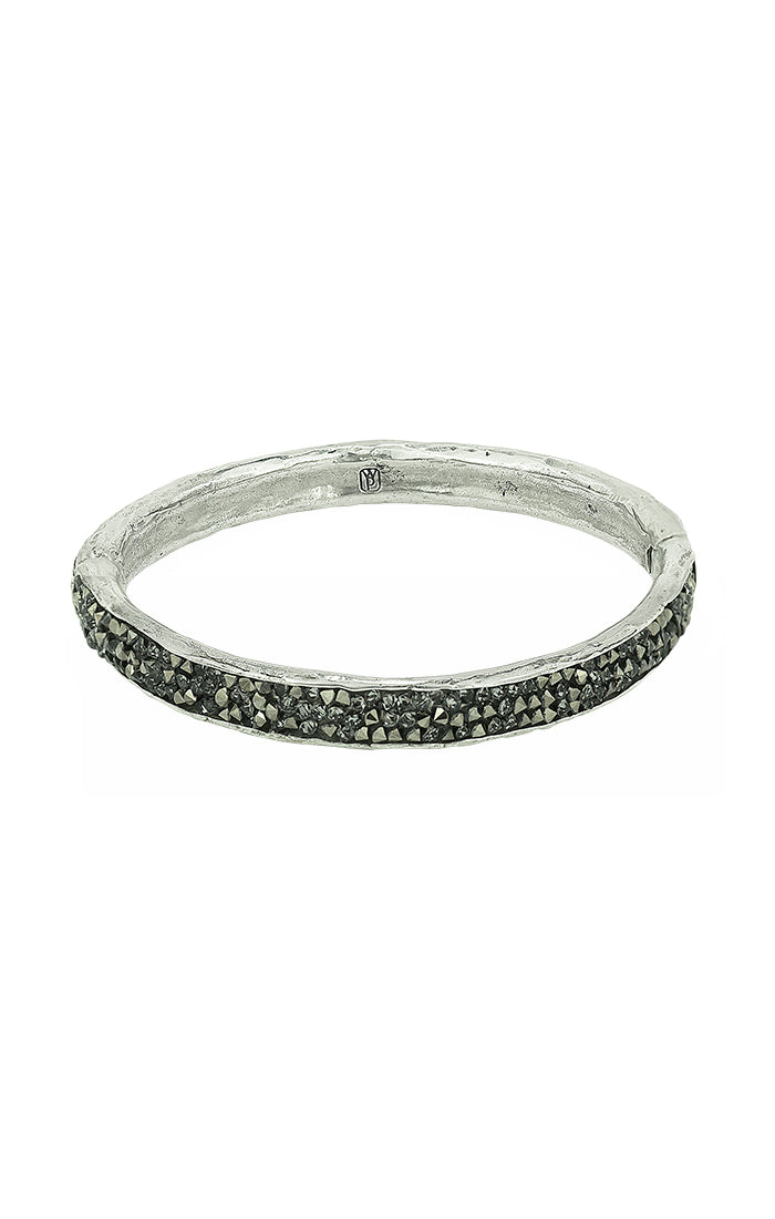 Kristal Hinge Bangle - White Bronze and Kristal Crystals