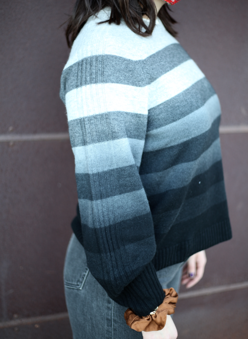 Dip Dye Striped Crewneck Sweater - Smoke Marl